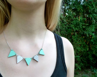 Pennant Wood Necklace // Mint and Silver Bunting Necklace // Reversible // Wood Geometric Necklace