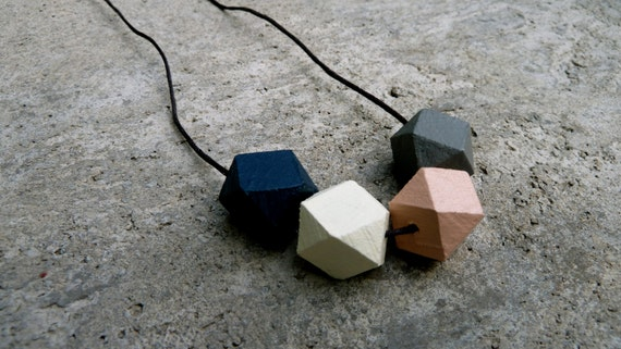 Geometric Wood Necklace - Hedron Necklace - Navy, Peach, Grey