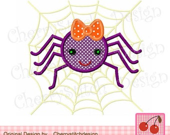 Spider and the spider web Halloween Embroidery Applique Design- 4x4 5x7 6x10 Machine Embroidery Applique Design