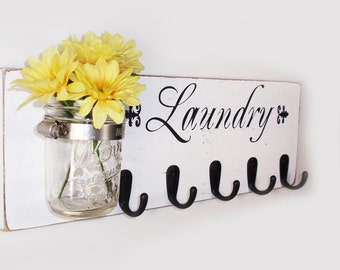 Laundry Sign With 5 Hooks - Hand Painted- White  With Black Lettering- French Chic- Shabby- Country Decor