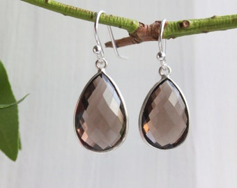 Smoky Quartz Sterling Silver  - Dangle Earrings - Stone Earrings - Drop Earrings - Birthstone Earrings - Gemstone Jewelry