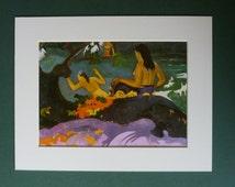 Vintage Gauguin Print  - By The Sea - Post Impressionist Art Print - Paul Gauguin - Post Impressionism - Nude Women Bathing - Naked Ladies