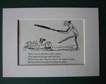 1950 Vintage Edward Lear Print - Vintage Print - Victorian Print - Nonsense - Black & White - Limerick - Poetry - Poem - Violent - Silly