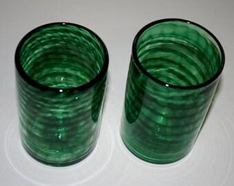 EMERALD GREEN SPIRAL Glass, Hand Blown Glass Tumbler, Art Glass, Blown Glassware, Blown Drinking Glasses, Hand Blown Glass Art, Blown Glass