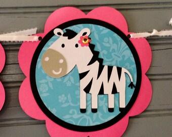 Zebra Happy Birthday Banner