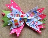 Summer - Ice Cream/Flip Flops Spikey Bow - For Babies, Toddler, Girls - Ice Cream Party Theme - Can be attached to a headband - BowBravo