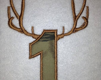 Applique Antler Numbers Embroidery Design, hunters for life, hunting baby, birthday numbers celebration shirt ideas, birthday outfit idea