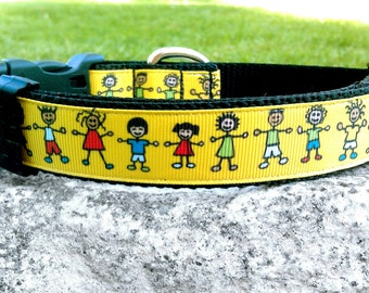 We Are The World 1 Inch Width Dog Collar
