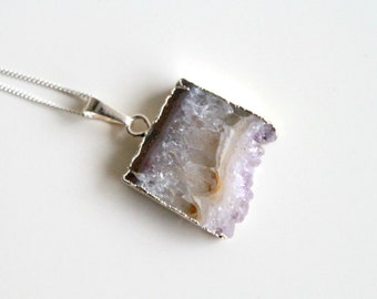 Raw Amethyst Slice Necklace. Natural Stalactite Amethyst Druzy Necklace. 925 Sterling Silver Chain Necklace.