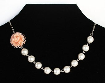 Wedding necklace peach rose resin flower cabochon pearl necklace bridal jewelry bridesmaid necklace wedding gift bridesmaid gift