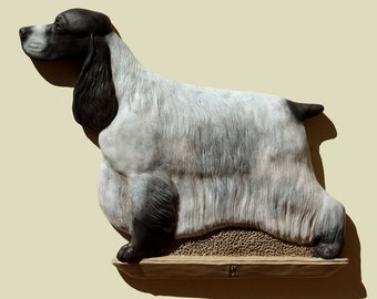 Hand painted blue roan English Cocker Spaniel dog wall sculpture statue fine art relief