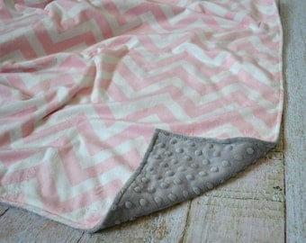 Pink Chevron and Gray Blanket - Ultra Soft Minky Baby Blanket - Personalized Baby Blanket