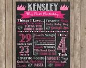 Princess Crown Birthday Girl Chalkboard Custom Color Printable Poster Look Whoo's One