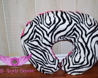 Zebra Print with Pink Minky Boppy Pillow Slipcover