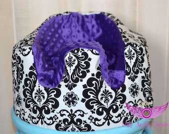 Purple and Damask Bumbo Seat Cover