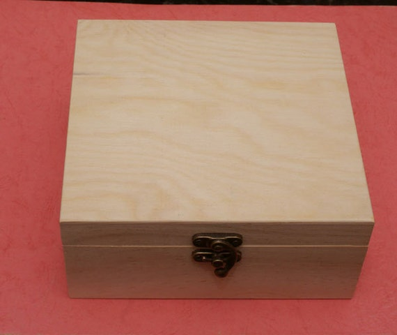 unfinished wood jewelry box with latch by sdwstore on etsy