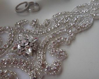 Swarovski Crystal Bridal Sash Belt, Rhinestone Bridal Belt Sash, Beaded Bridal Sash Belt - The Marcia