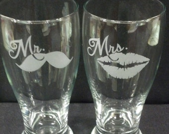 Mr Mustache and Mrs Lips Custom Etched Pilsner Glasses