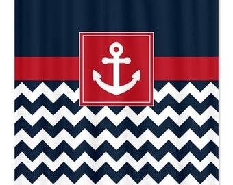 Navy chevron curtains – Etsy