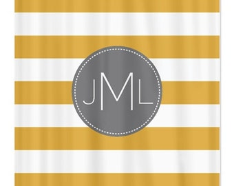 gold and white striped shower curtain. Personalized Striped Shower Curtain With Monogram Initial Honey Gold  Grey White OR Choose Mustard Etsy