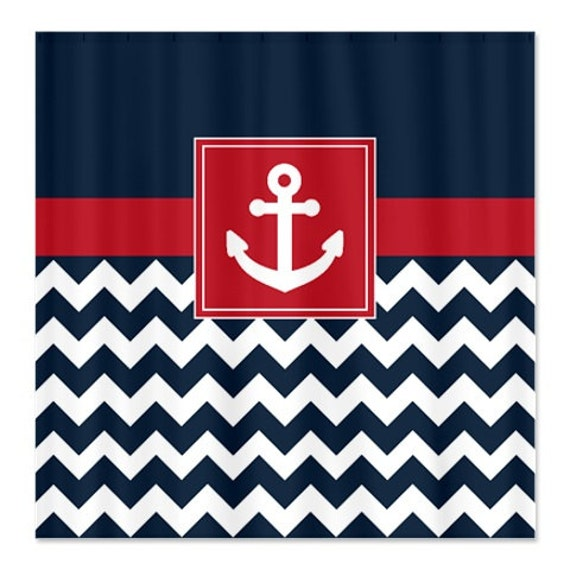 Nautical Shower Curtain Navy And White Chevron Brick Red