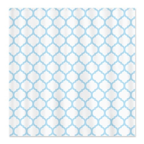 Custom Quatrefoil Shower Curtain-Light Blue and White OR