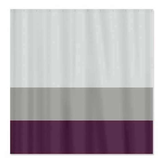 Custom Color Block Shower Curtain Light Tan Grey And Eggplant