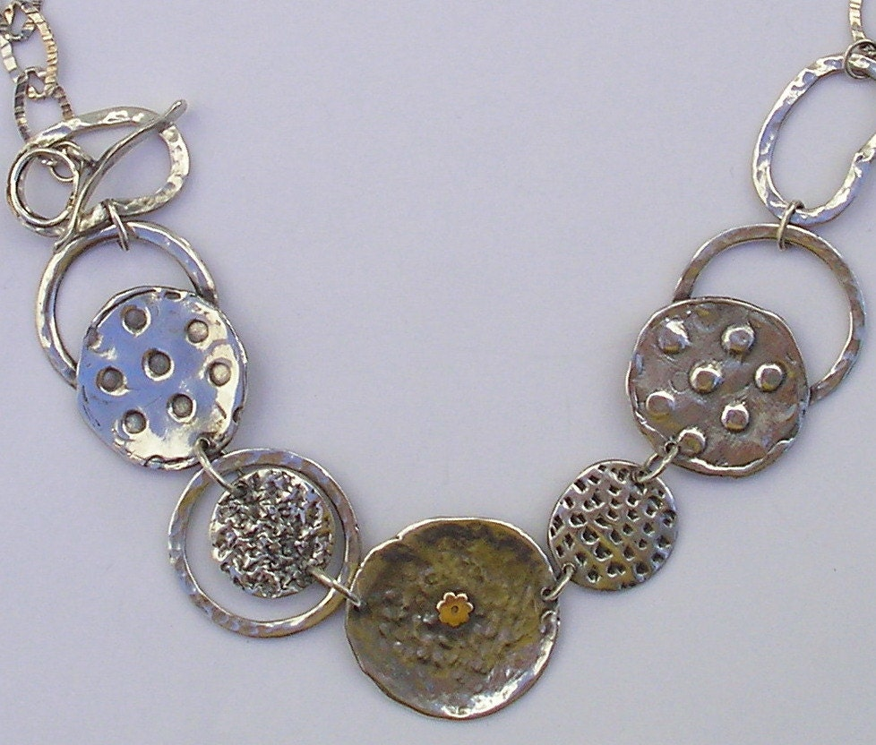 Ancient coins and ancient shields shapes handmade necklace of silver, Israeli Judaica Handmade