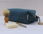 Hemp, Men's shaving, toiletry, kit bag, pouch, Pewter grey hemp canvas, eco-friendly. Hoxton Bag.