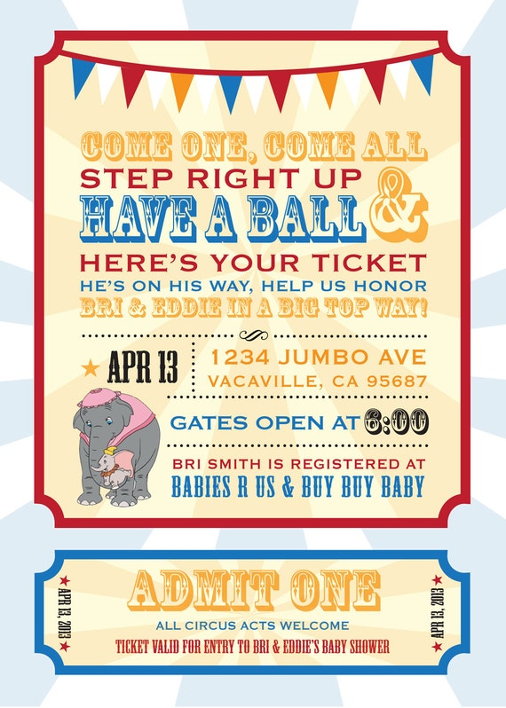 Dumbo Circus Personalized Baby Shower Invitation PRINTABLE