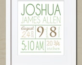 Birth Information Print. Printable Artwork. Neutral colors