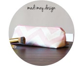 BOGO Sale Pink Chevron Cosmetic Bag - Triangle Makeup Bag - Triangle Makeup Pouch - Triangle Cosmetic Pouch - Travel Bag - Pencil Case