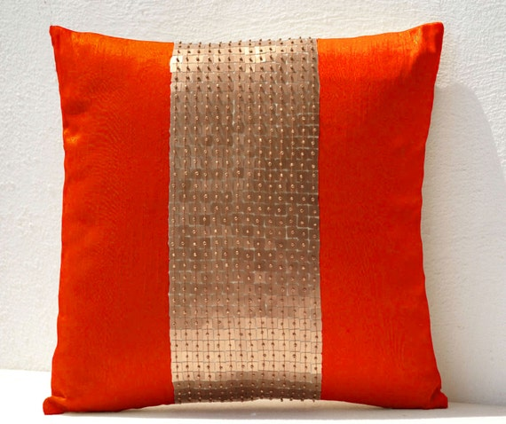 Throw Pillows With Orange : Decorative Throw Pillows Cover Orange Gold Pillow Color