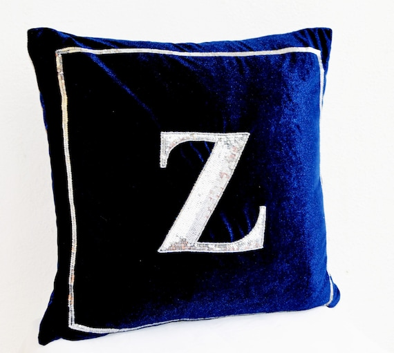 Navy Blue Pillow Cover Monogram Pillow Silver Sequin Cushion