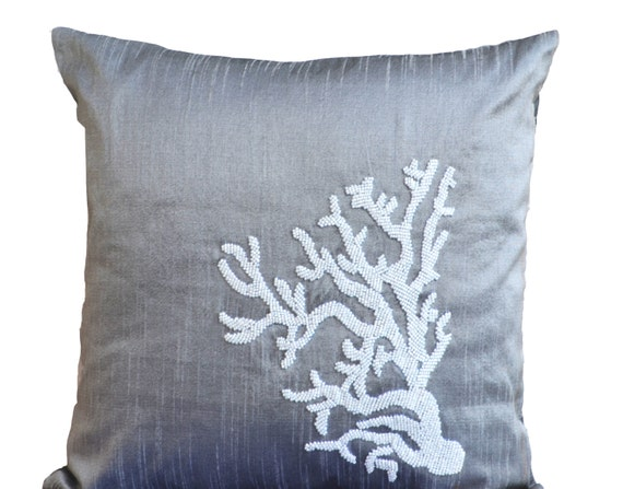 Grey Pillow Beaded Coral Pillow Decorative Throw Pillow