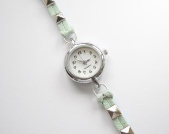 Pastel Mint Green Suede Bracelet Watch with Pyramid spikes