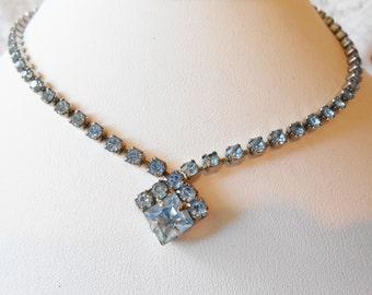 Vintage Rhinestone Necklace, Blue Rhinestone, Choker Necklace, Vintage 1950s, Costume Jewelry, Blue Necklace,  Hollywood Glamour