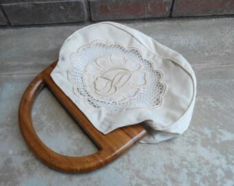 Wood Handle Embroidered Handbag