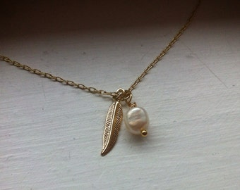 Freshwater pearl and feather necklace gold plated chain, Mother's Day