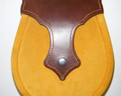 Handmade Brown with Mustard Suede. Leather Ness Sporran.