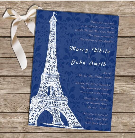 printable wedding invitation paris theme blue