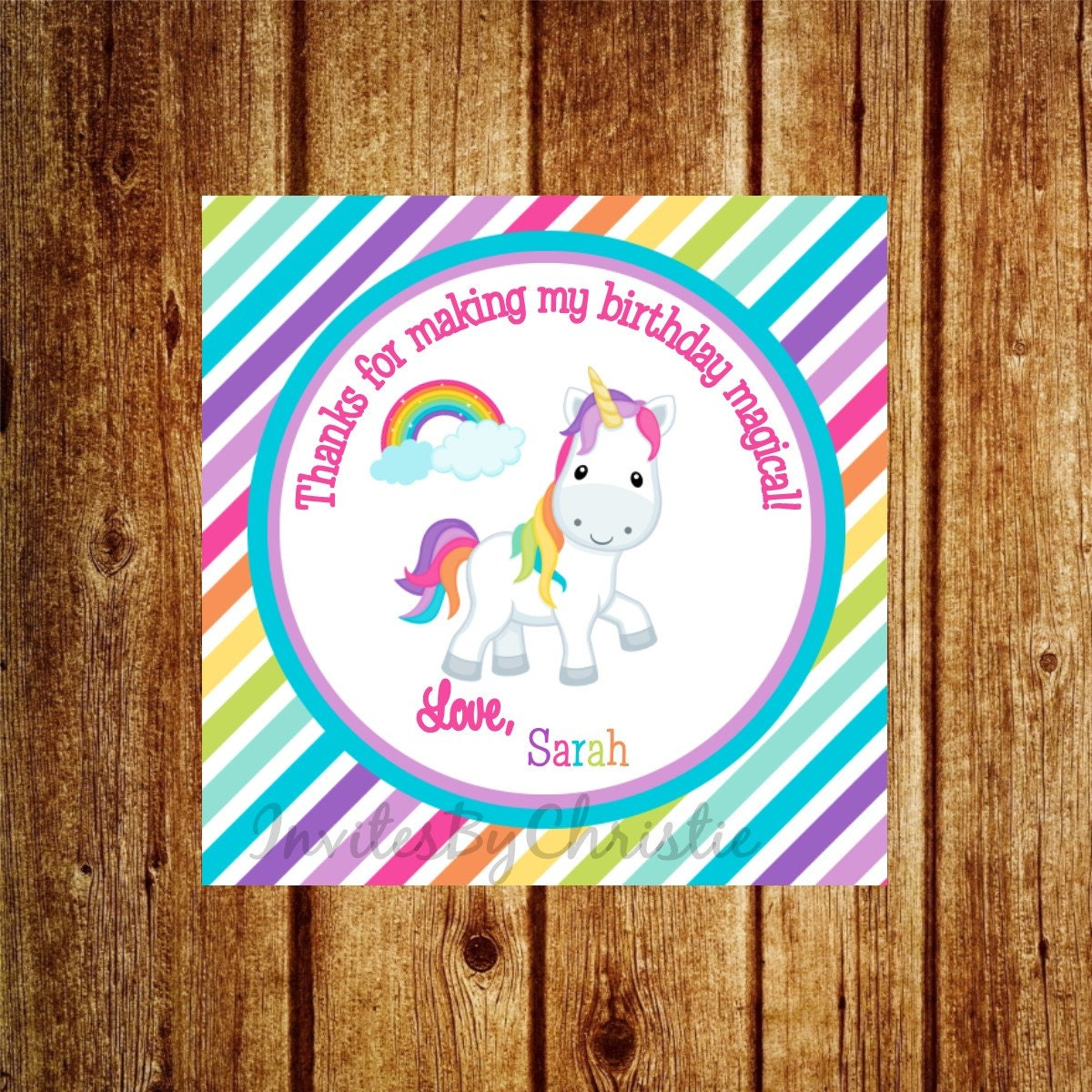 Unicorn Rainbow Birthday DIY Printable Favor Tags Customized