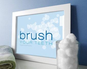Bathroom Art - Blue Bathroom Decor - Bath Prints - Brush Your Teeth Bathroom Toothbrush - Bubbles - Bath Wall Art - Sky Blue Bathroom Decor