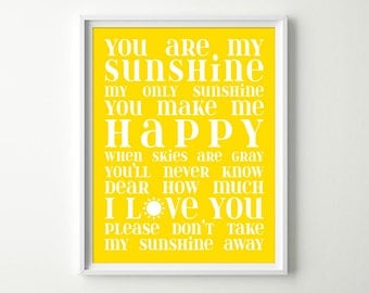 You Are My Sunshine Wall Art - Baby Girl or Boy Yellow Nursery Decor - Sunshine Song Lullaby Sign - Kids Room Wall Art Print