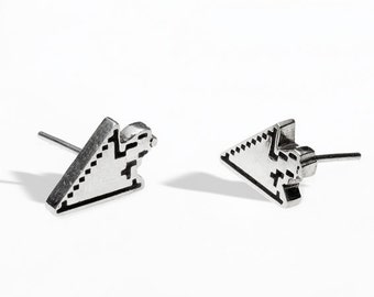Handmade sterling silver geek studs. Arrow cursor