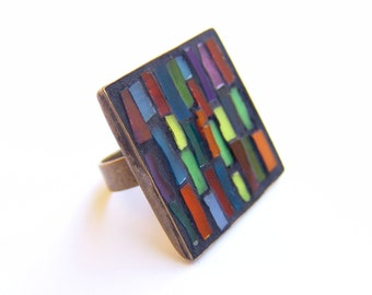 free shipping, Colorful glass stripes, Mosaic ring, square stained glass jewelry, adjustable bronze ring