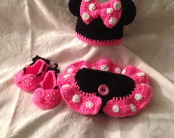 Minnie Mouse Diaper Cover, Bennie and Shoes