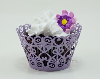Lace Hearts Filigree Lavender Purple Shimmer - Elegant Laser Cut Lace Cupcake / Muffin  Wrappers - (set of 12)