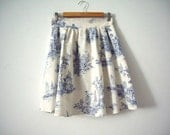 Blue and Cream Toile High Waisted Skirt - CruelCandy
