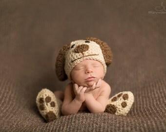 Crochet Newborn baby dog hat booties set crochet Newborn photo props photography boy girl- Made to order